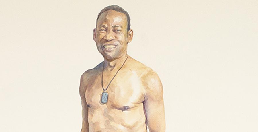 Man 3 - Necklace, Watercolor by Gabriel Garbow