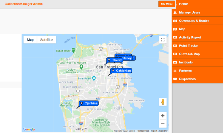 A sample outreach map showing San Francisco and the location of each staff member.