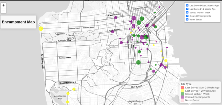 A map of San Francisco showing circles of different colors where services are needed and have been provided.