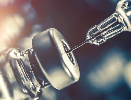 Syringe with glass bottle