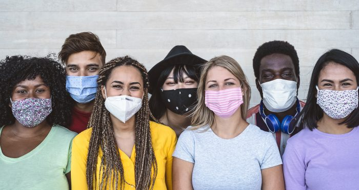 Group of people wearing masks