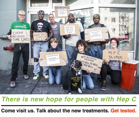 Hep C Poster - group of people holding signs about Hep C