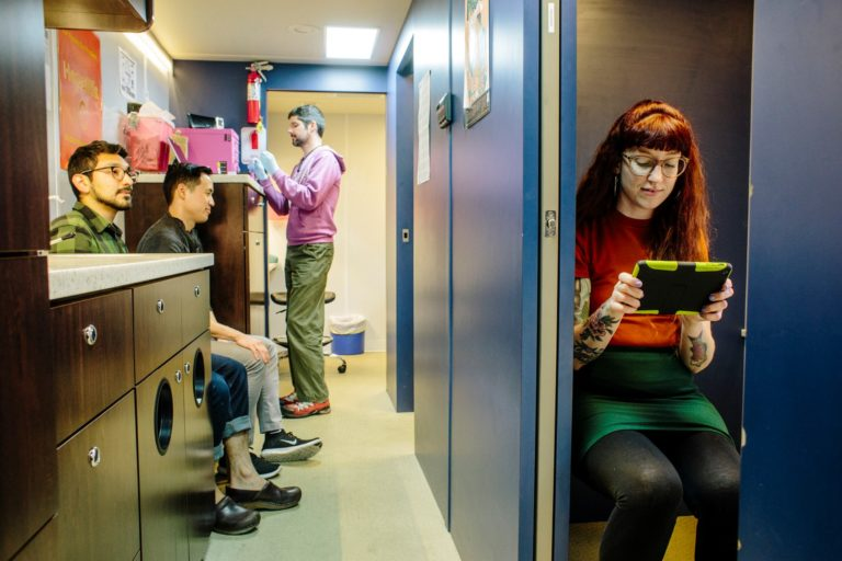 The mobile testing unit of San Francisco AIDS Foundation provides confidential and free HIV testing services.