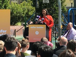 San Francisco Mayor London Breed speaks about overdose prevention sites at a community event (Photo: San Francisco AIDS Foundation)