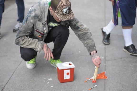 Currently, San Francisco AIDS Foundation staff conduct regular sweeps to pick up improperly discarded syringes. Overdose prevention sites reduce the amount of public injection and the amount of improperly discarded syringes.