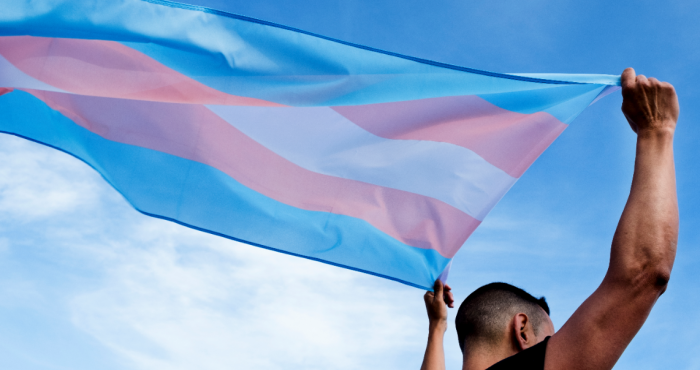 Trans flag waving