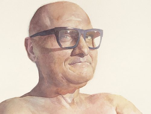 Man 1, Heavy Glasses, Watercolor by Gabriel Garbow
