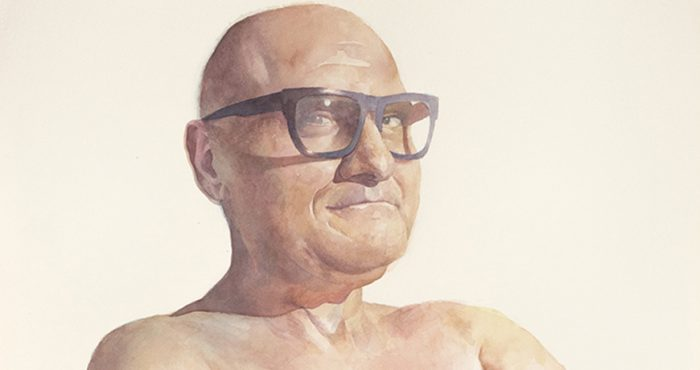 Watercolor by Gabriel Garbow titled Man 1, Heavy Glasses