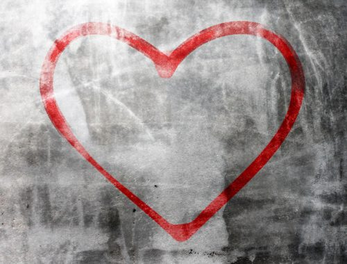 Heart shape on concrete wall