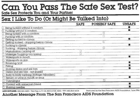 Safe sex test - SFAF flyer